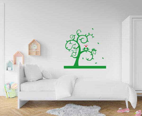 vinilo decorativo de árbol con pájaros y corazones
