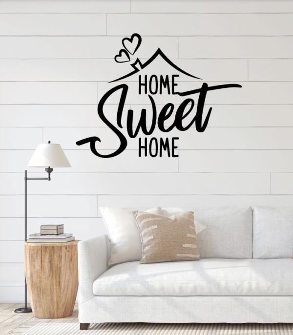 salon con vinilo home sweet home en la pared