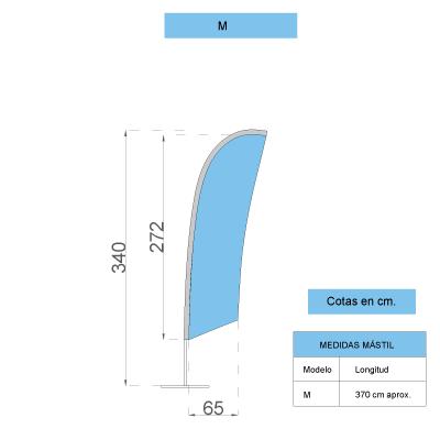 Medidas bandera surf talla M