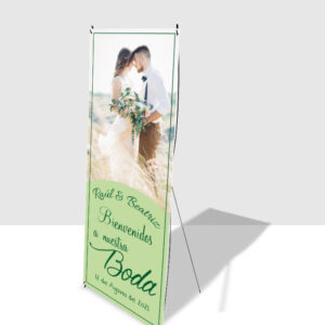 cartel de bienvenida para bodas con soporte de banner en X